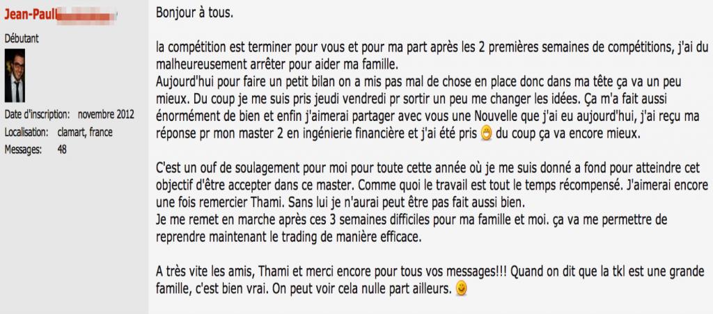 JP compétiton  Jean-Paul, Mention BIEN à Paris-Dauphine et étudiant TKL JP comp  titon