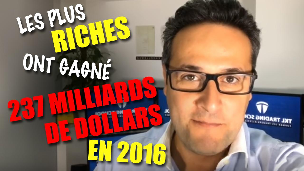 Les plus riches ont gagné 237 milliards de dollars en 2016
