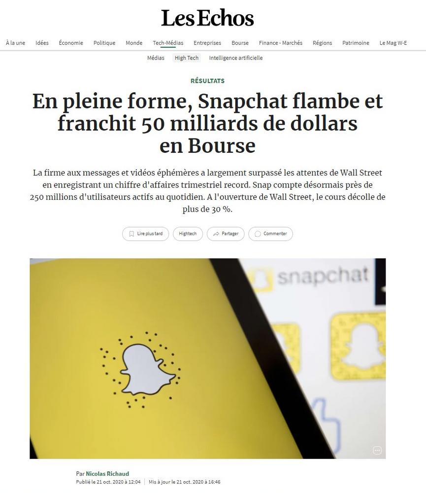 SNAPCHAT Hausse +30% - 50 milliars de dollars en Bourse