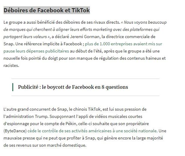 SNAPCHAT Hausse +30% - Déboires Facebook et Tiktok